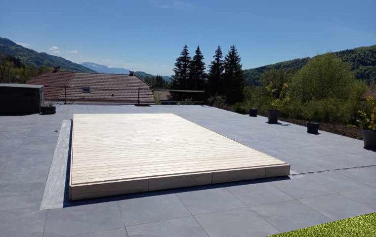 Terrasse mobile lames bois Accoya sans vis apparentes, Haute Savoie (74)